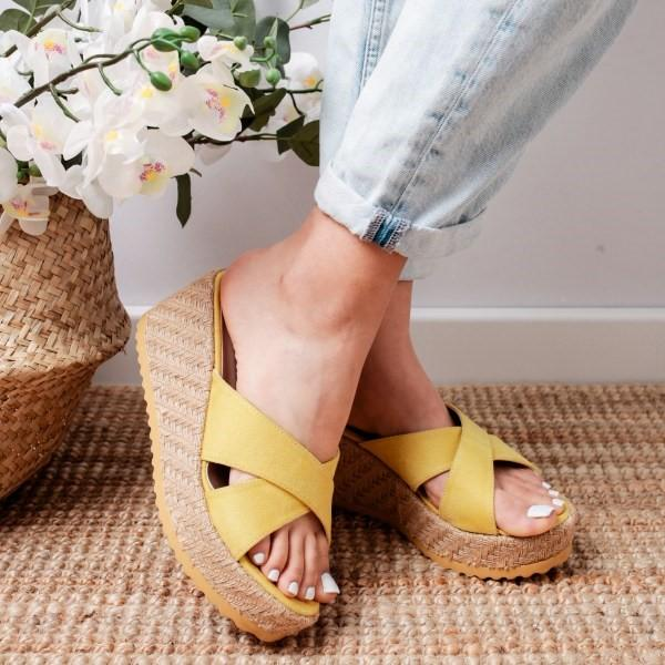 Women Casual Strappy Slip On Wedge Sandals