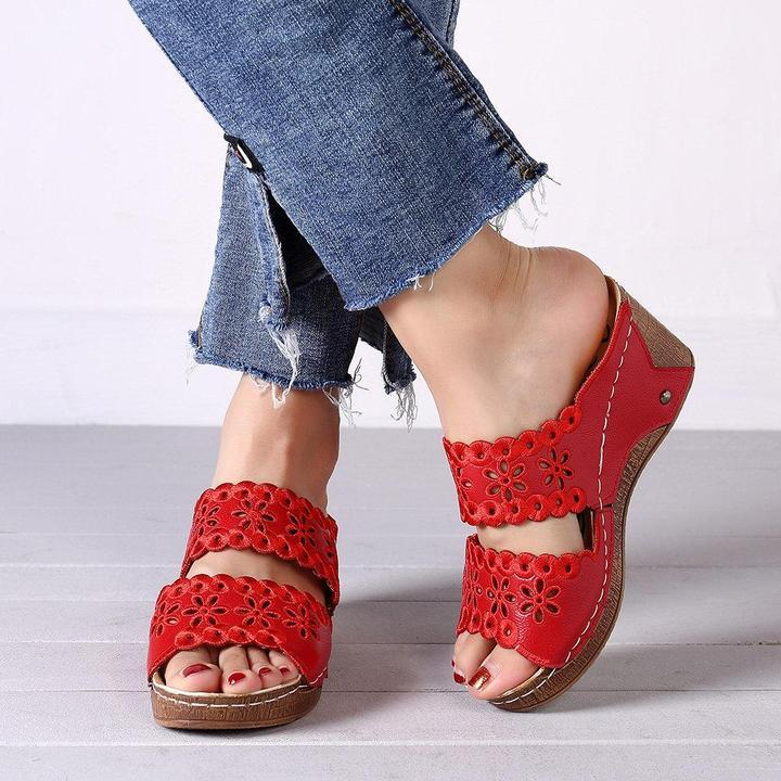 Women Hollow Flowers Wedge Hook Sandals Shoes