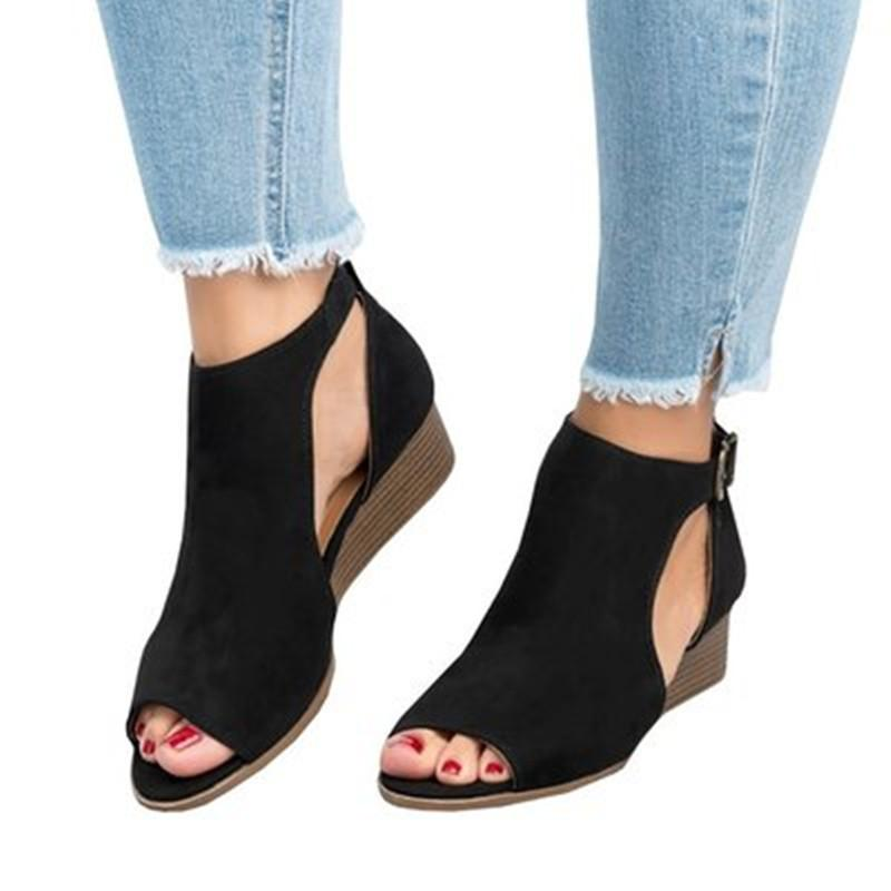 Women's Cut Out Platform Wedge Sandals Ankle Strap Peep Toe Suede Shoes