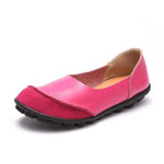 Women's Large Size Split Leather Panel Comfy Flats