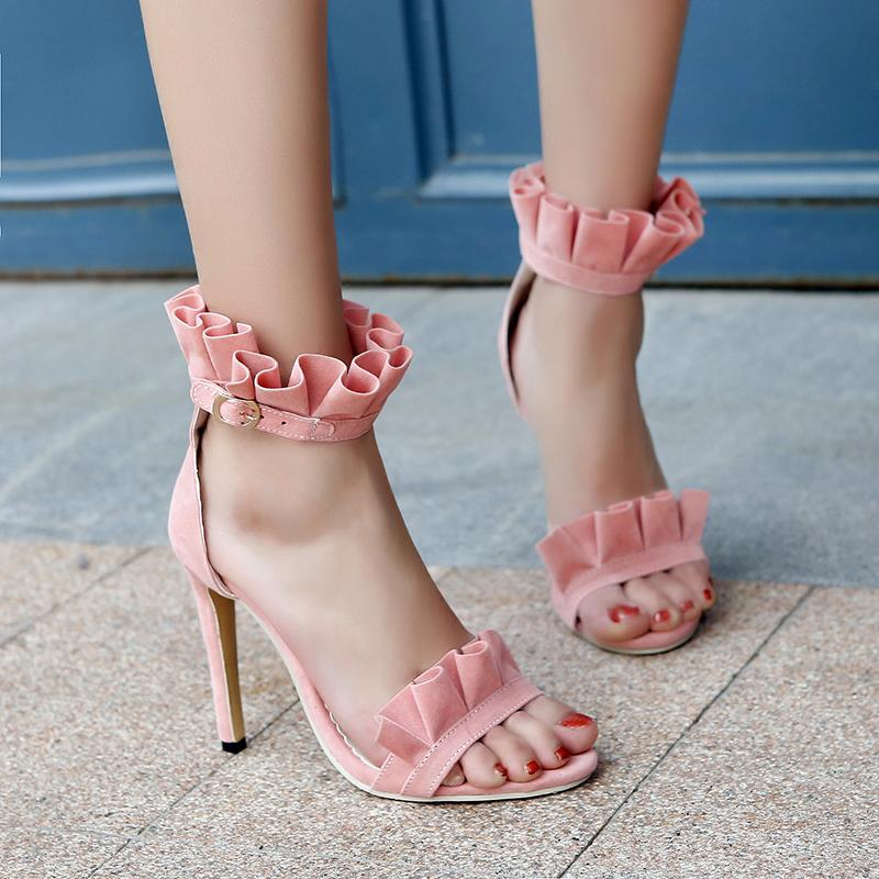 Womens Sexy Floral Buckle Strap Party Sandals Stilettos High Heel Stage Shoes