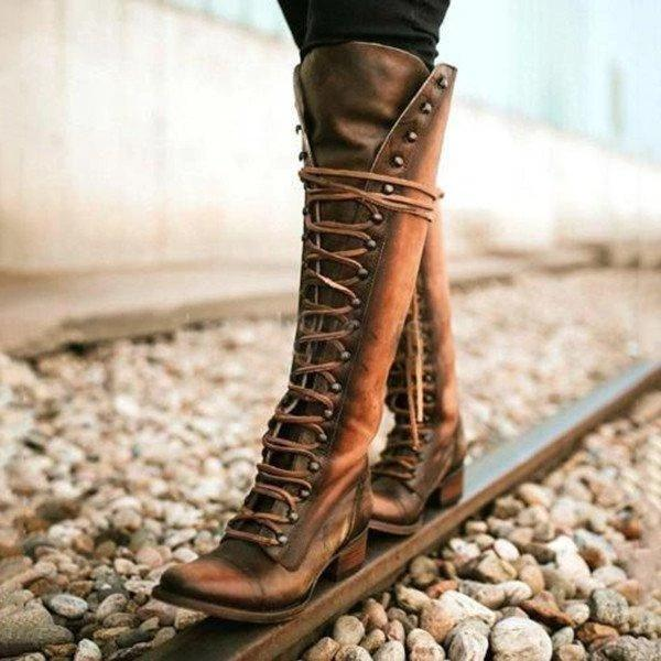 Women's Vintage Lace-Up Knee-High Boots Holiday PU Boots