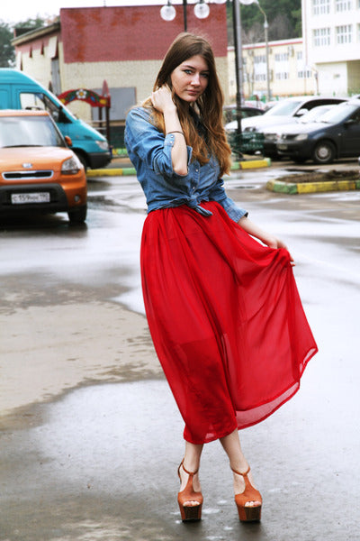 Modest Red Skirt