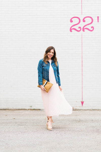 Modest Dress with Denim Jacket