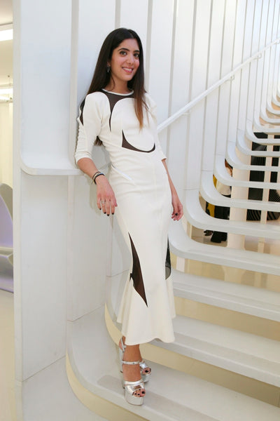 Modest White and Black Dress