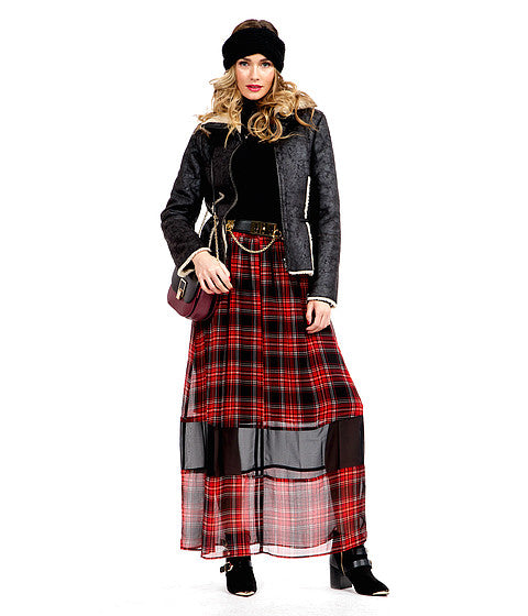 Modest Red Plaid Skirt