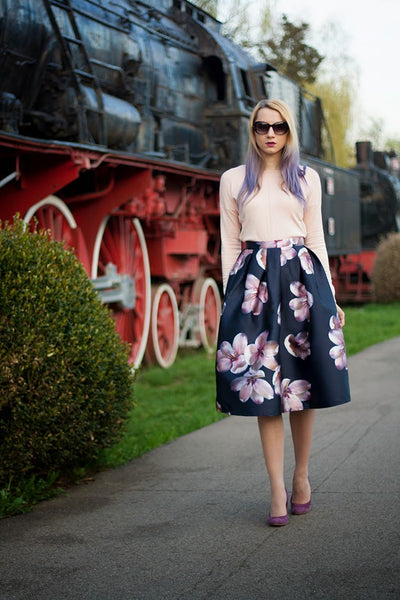 Modest Navy Blooms Skirt