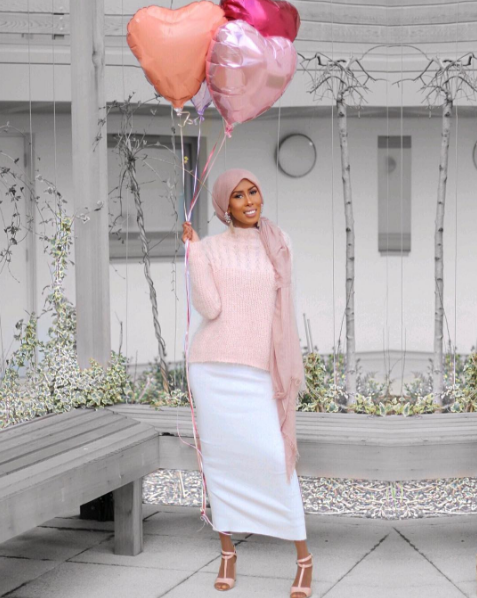 Modest Pink Top and White Skirt
