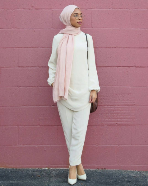 Modest in White and Pink
