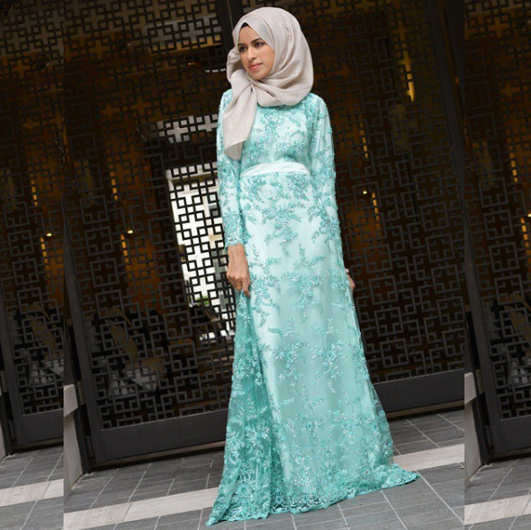 Modest Light Blue Gown