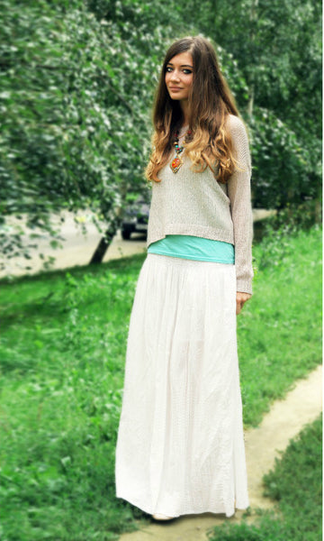 Modest White Maxi Skirt