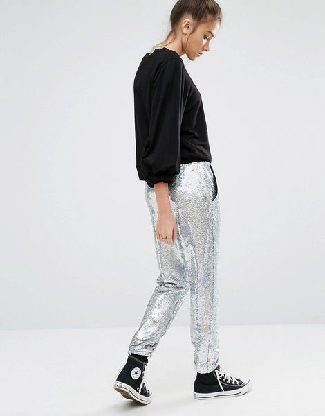 Modest Silver Sequin Pants