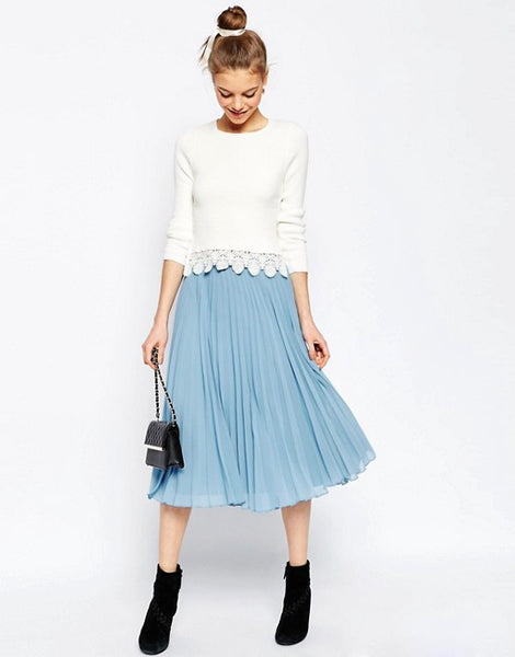 Modest Light Blue Pleated Skirt