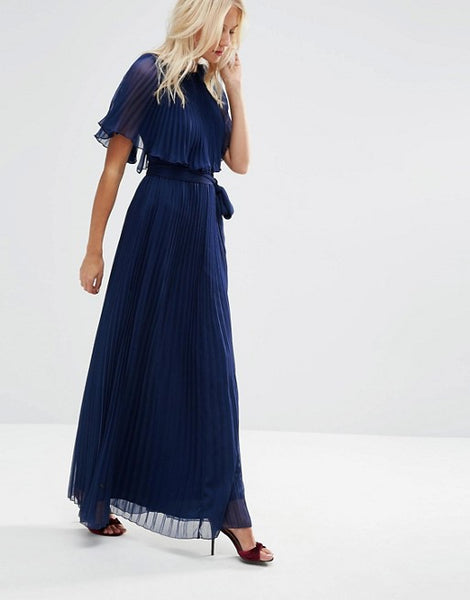 Modest Navy Pleated Dress