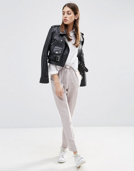 Modest Gray Pants and Leather Jacket
