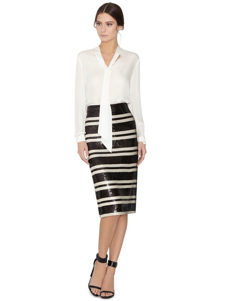Modest Black and White Striped Skirt