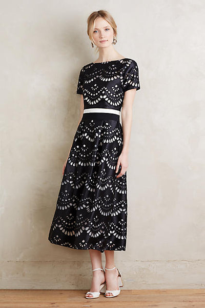 Modest Black and White Petite Dress