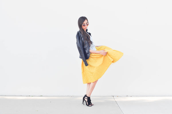 Modest Yellow Midi Skirt