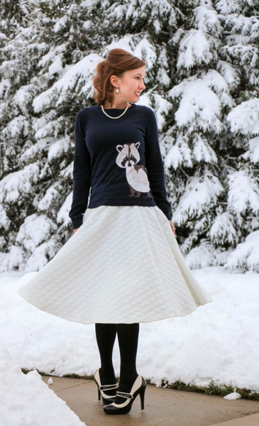 Modest Critter Sweater and White Skirt