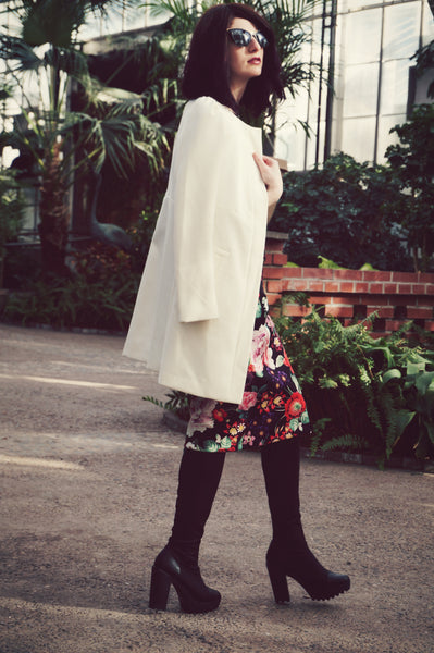 Modest Floral Dress and Spring Coat