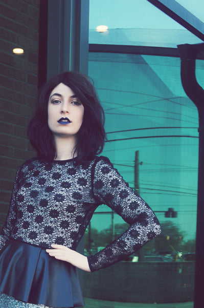 Modest Black Lace Top