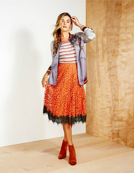 Modest Orange Lace Skirt