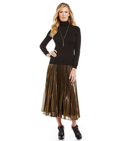 Modest Gold Midi Skirt
