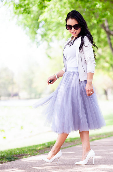 Modest Gray Tulle and White Moto