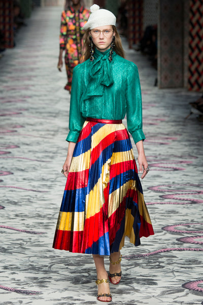 Gucci modest designer colorful skirt and blouse