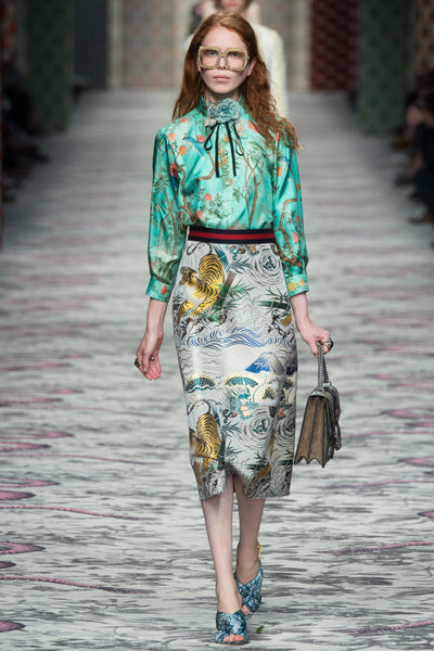 Gucci Modest Print Blouse and Skirt