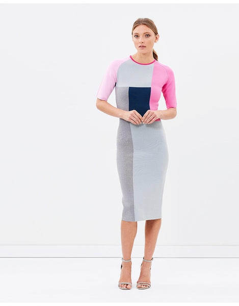 Modest Color Block Dress