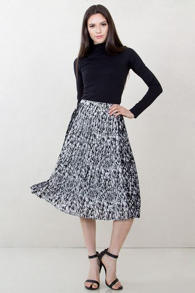 Modest Black and White Midi Skirt