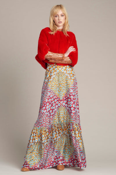 Red Fur Top and Floral Maxi Skirt