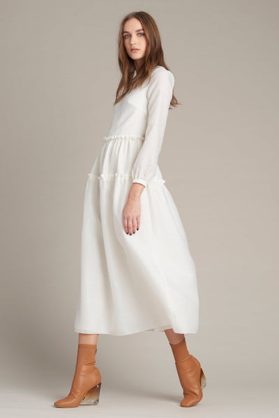 Modest White Midi Dress