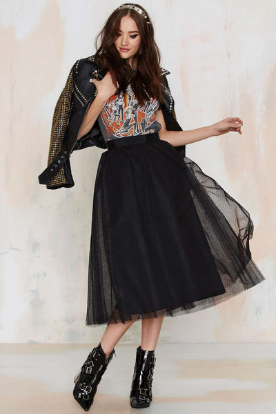Modest Black Tulle Skirt