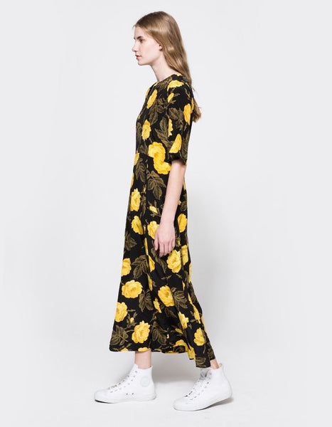 Modest Black and Yellow Dress