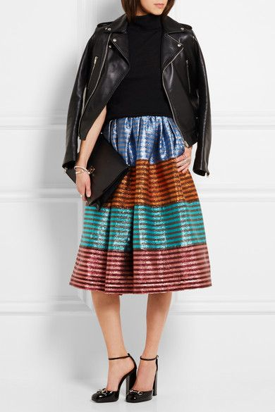 Modest Striped Midi Skirt