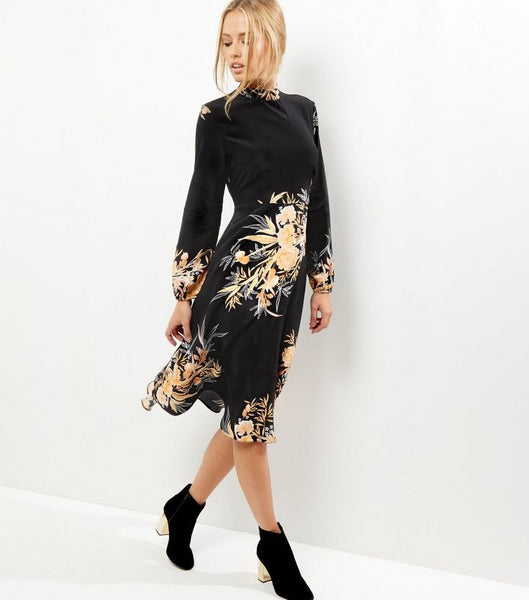 Modest Black Floral Dress
