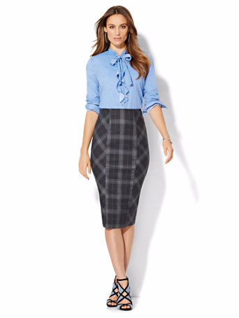 Modest Plaid Pencil Skirt