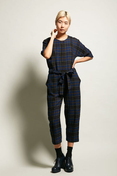 Modest Plaid Jumpsuit