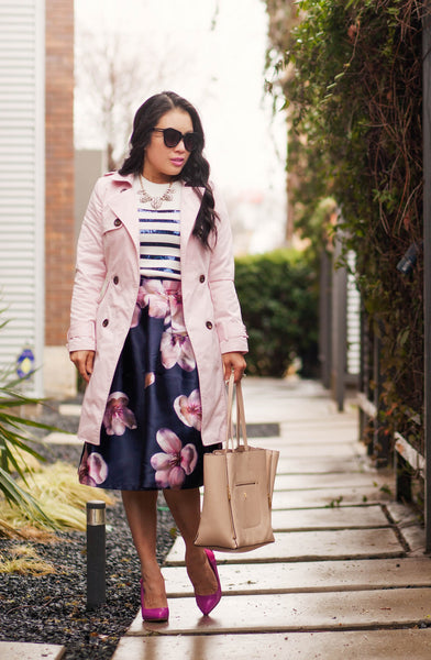 Modest Pink Trench and Navy Pink Florals