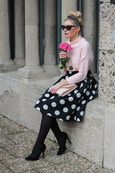 Modest Black and White Spotted Skirt