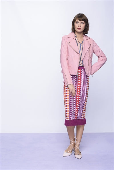 Modest Jacquard Geometric Skirt