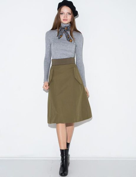 Modest Olive Green Midi Skirt