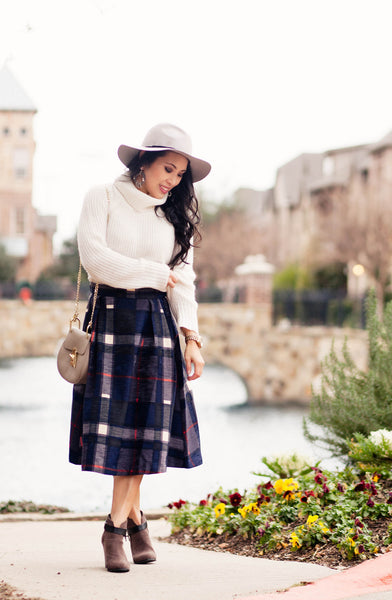 Modest Plaid Midi Skirt and Gray Hat