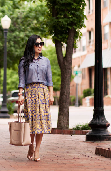 Modest Retro Floral + Chambray