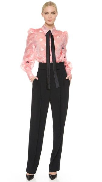Modest Black Pants and Pink Blouse