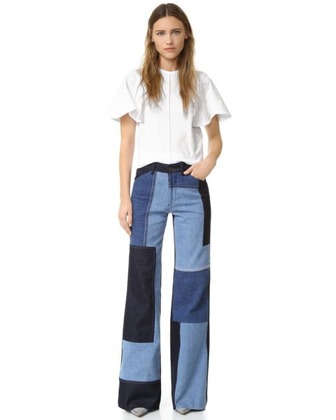 Modest Patchwork Denim Pants