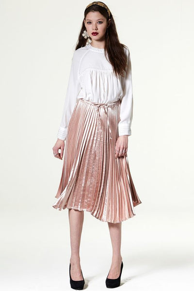 Modest Metallic Midi Skirt