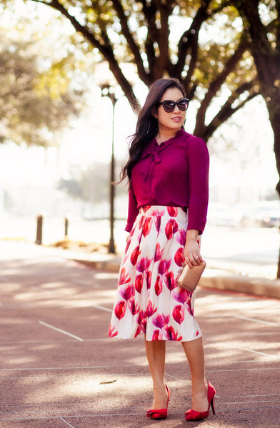 Modest Tulip Midi Skirt + Shades of Red